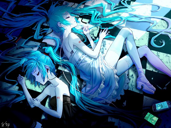 Tags: Anime, As109, VOCALOID, Hatsune Miku, PSP, Last Night Good Night, Fanart, Pixiv