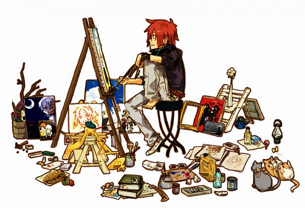Tags: Anime, D.Gray-man, Timcanpy, Lavi, Single Shoe, Asymmetrical Footwear, Painting (Action), Easel