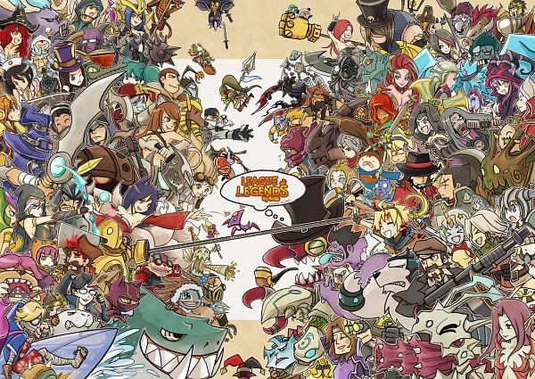 Tags: Anime, Pixiv Id 3432640, Mahou Shoujo Madoka☆Magica, Final Fantasy Gaiden: Four Warriors Of Light, League of Legends, Under the Moon, Caitlyn, Hecarim, Jax, Janna, Ahri, Gangplank, Kyubee