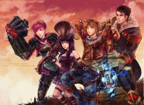 Tags: Anime, League of Legends, Ezreal, Jayce, Vi (League of Legends), Caitlyn, Fiveonthe, Artist Request