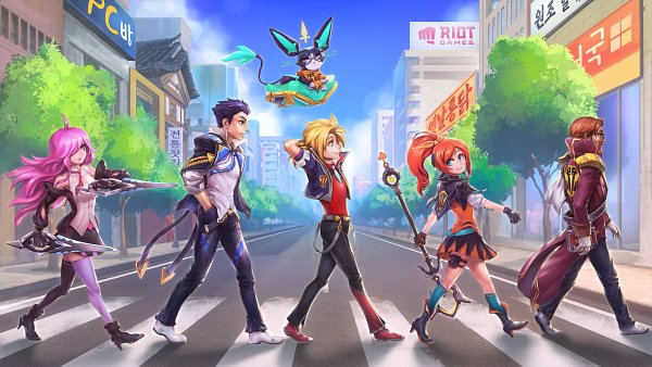 Tags: Anime, Phantom Ix Row, League of Legends, Jayce, Ezreal, Graves (League of Legends), Lux, Katarina, Yuumi (League of Legends), Wallpaper