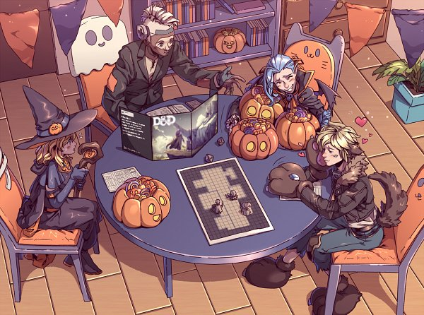 Tags: Anime, Pixiv Id 2504891, League of Legends, Dungeons & Dragons, Ezreal, Ekko (League of Legends), Jinx (League of Legends), Playing Games, Werewolf Costume, Fanart, Character Request