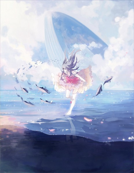 Tags: Anime, Left Mouse, Asymmetrical Footwear, Walking On Water, Footwear Off, Whale, Aquatic Animal in the Sky, Flying Fish, Single Shoe, Pixiv, Original