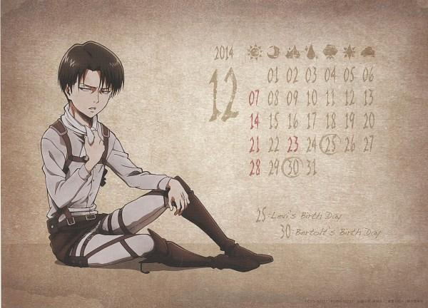 Tags: Anime, WIT STUDIO, Attack on Titan, Shingeki no Kyojin School Calendar, Levi Ackerman, Scan, Calendar 2014, Calendar (Source), Official Art