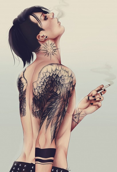 Tags: Anime, Orisoni, Attack on Titan, Levi Ackerman, Side Cut, Sun (Symbol), Surface Piercing, Head Up, Nose Piercing, Labret Piercing, Faux Wings, Eyebrow Piercing, Contemporary