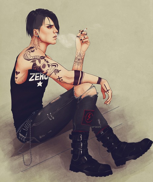 Tags: Anime, Orisoni, Attack on Titan, Levi Ackerman, Sun (Symbol), Labret Piercing, Buckle Boots, Nose Piercing, Gothic Outfit, Torn Pants, Contemporary, Side Cut, Tumblr