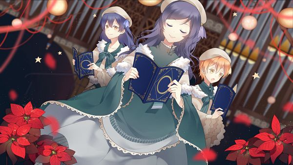 Tags: Anime, Pixiv Id 3510916, Love Live!, Toujou Nozomi, Sonoda Umi, Hoshizora Rin, Poinsettia, HD Wallpaper, PNG Conversion, Wallpaper, Lily White (Love Live!)