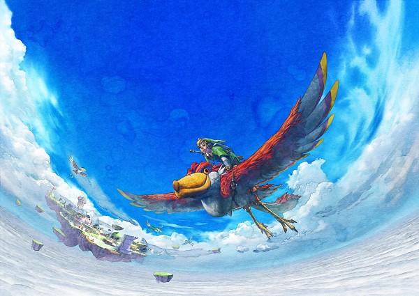 Tags: Anime, Nintendo, Zelda no Densetsu: Skyward Sword, Zelda no Densetsu, Link (Skyward Sword), Loftwing, Link, Floating Island, Artist Request, Official Art