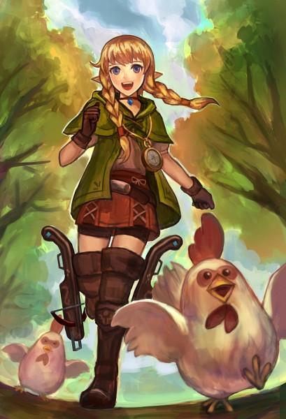 Tags: Anime, Pixiv Id 15935142, Zelda no Densetsu, Zelda Musou, Linkle, Chicken, Compass, Crossbow, Fanart From Pixiv, PNG Conversion, Fanart, Pixiv, Revision