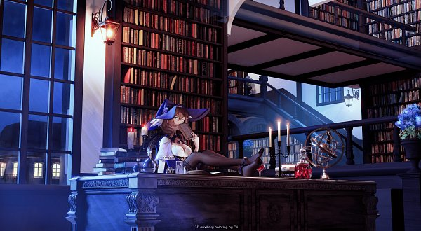 Tags: Anime, Pixiv Id 17523066, Genshin Impact, Lisa (Genshin Impact), Feet On Table, Pixiv, 3D
