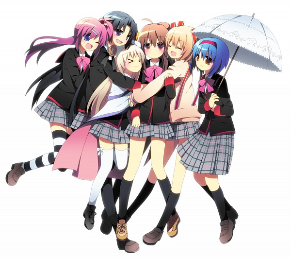 Tags: Anime, Soranagi, Little Busters!, Natsume Rin, Nishizono Mio, Noumi Kudryavka, Kurugaya Yuiko, Kamikita Komari, Saigusa Haruka, Surprise Hug, Gray Skirt, Group Hug, Pixiv