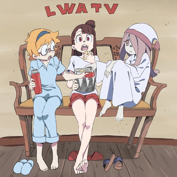 Tags: Anime, Sushio, Trigger (Studio), Little Witch Academia, Sucy Manbavaran, Lotte Yanson, Kagari Atsuko, Popcorn, Red Shorts, Watching TV, Night Cap, Twitter, Official Art