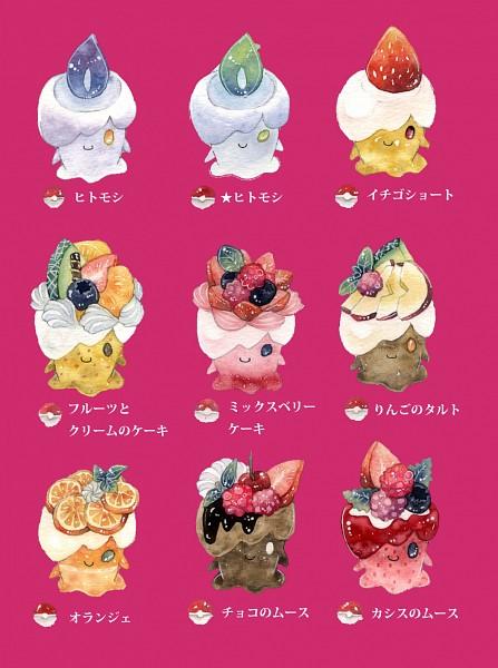 Tags: Anime, Pixiv Id 3317777, Pokémon, Litwick, Green Flame, Wax, Raspberries, Blueberry, Pixiv