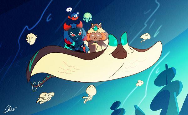 Tags: Anime, Pixiv Id 15109494, Cookie Run: OvenBreak, Cookie Run, Lantern Jellyfish, Eerie Anglerfish, Mocha Ray Cookie, Lobster Cookie, Anglerfish, Jellyfish, Stingray, Fanart From Pixiv, PNG Conversion