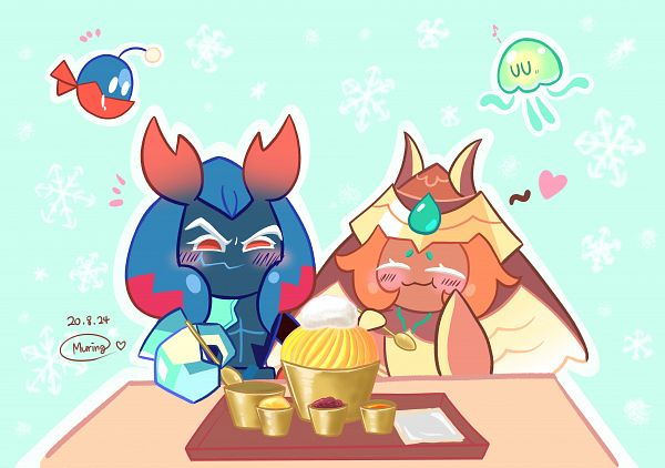 Tags: Anime, Muring, Cookie Run: OvenBreak, Cookie Run, Lobster Cookie, Lantern Jellyfish, Eerie Anglerfish, Mocha Ray Cookie, Jellyfish, Anglerfish, Fanart From Pixiv, Pixiv, Fanart