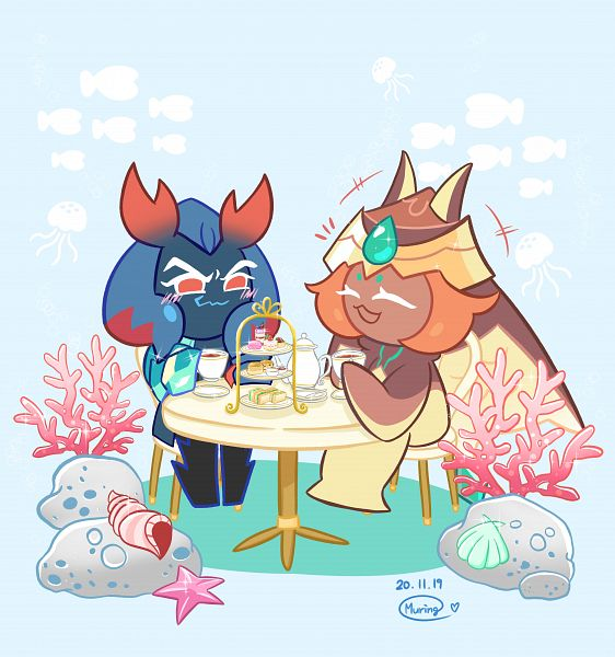 Tags: Anime, Muring, Cookie Run: OvenBreak, Cookie Run, Lobster Cookie, Mocha Ray Cookie, Coral, PNG Conversion, Fanart, LobsMocha