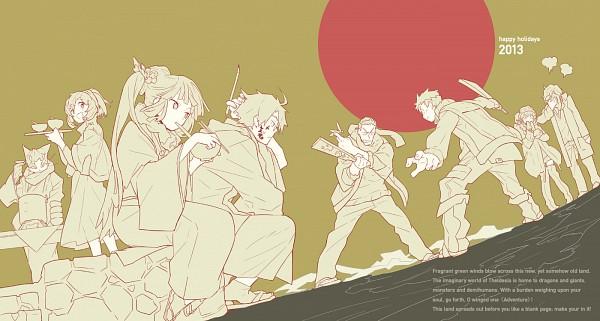 Tags: Anime, Hara Kazuhiro, Log Horizon, Nyanta (Log Horizon), Rundelhaus (Log Horizon), Naotsugu (Log Horizon), Touya (Log Horizon), Akatsuki (Log Horizon), Minori (Log Horizon), Shiroe (Log Horizon), Isuzu (Log Horizon), Official Art, Pixiv