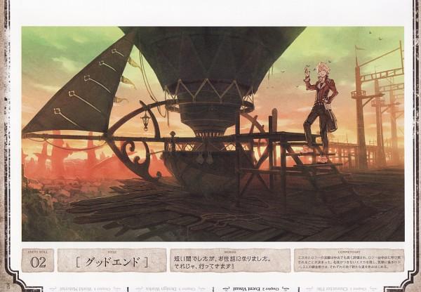 Tags: Anime, Hidari, Gust, Atelier Escha & Logy Official Visual Book, Atelier Escha & Logy, Logix Fiscario, Dusk, Hot Air Balloon, Scan, Official Art