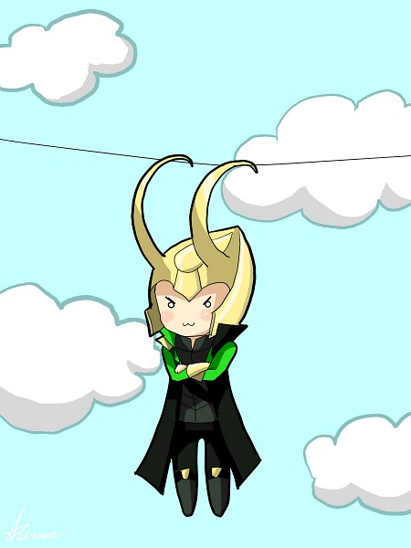 Tags: Anime, The Avengers, Loki Laufeyson, >:3, Hanging, Marvel