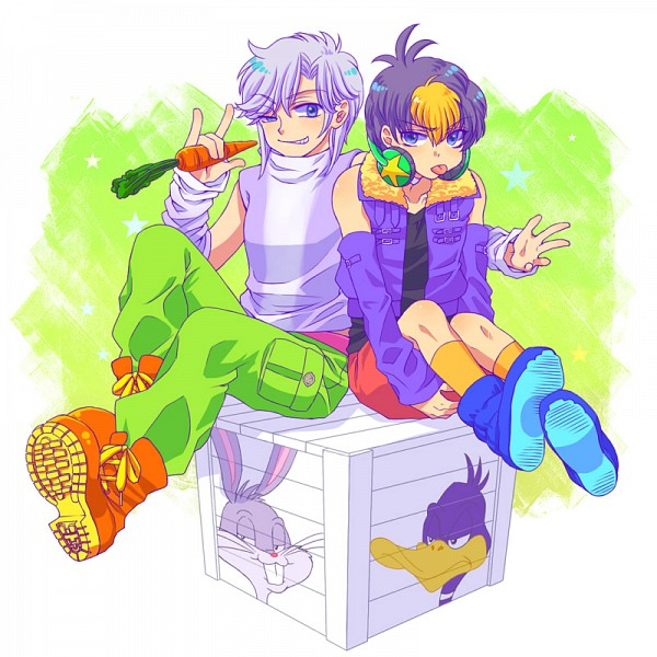 Tags: Anime, Nagisa725, Looney Tunes, Daffy Duck, Bugs Bunny, Orange Footwear, Orange Legwear, Crate