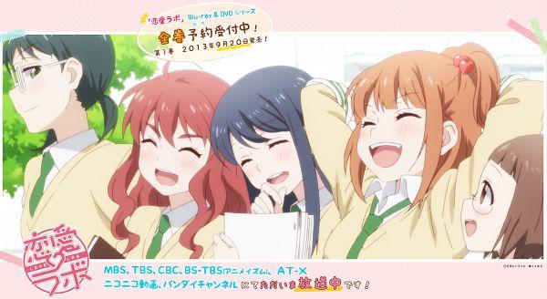 Tags: Anime, Dogakobo, Love Lab, Enomoto Yuiko, Tanahashi Suzune, Mizushima Sayori, Kurahashi Riko, Maki Natsuo, Wallpaper, Official Art, Official Wallpaper