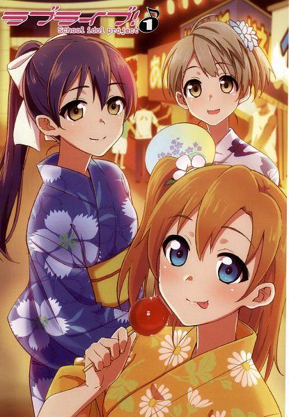 Tags: Anime, Tokita Arumi, Love Live!, Sonoda Umi, Minami Kotori, Kousaka Honoka, Candy Apple, Festival, Manga Page, Scan, Official Art