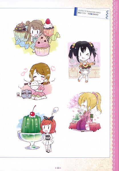 Tags: Anime, Kiyose Akame, Love Live!, Love Live! School Idol ALBUM -School Life-, Minami Kotori, Nishikino Maki, Ayase Eri, Koizumi Hanayo, Yazawa Niko, Cupcake, Jello, Scan, Official Art