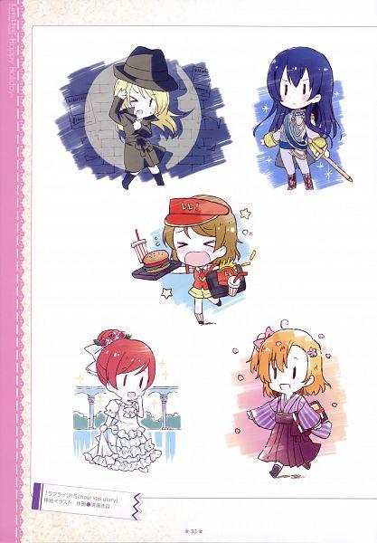 Tags: Anime, Kiyose Akame, Love Live!, Love Live! School Idol ALBUM -School Life-, Kousaka Honoka, Sonoda Umi, Ayase Eri, Nishikino Maki, Koizumi Hanayo, Fast Food, Official Art, Scan
