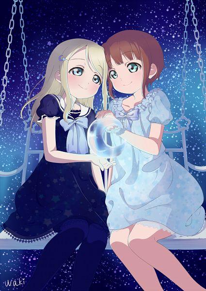 Tags: Anime, Waki (Pixiv2609622), Love Live!, Ayase Arisa, Kousaka Yukiho, Swing, Mobile Wallpaper