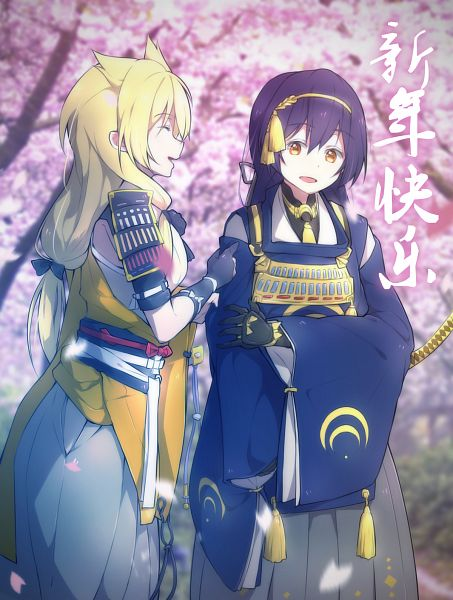Tags: Anime, Pixiv Id 10800691, Love Live!, Sonoda Umi, Ayase Eri, Touken Ranbu (Parody), Kogitsunemaru (Cosplay), Mikazuki Munechika (Cosplay), Mobile Wallpaper, PNG Conversion
