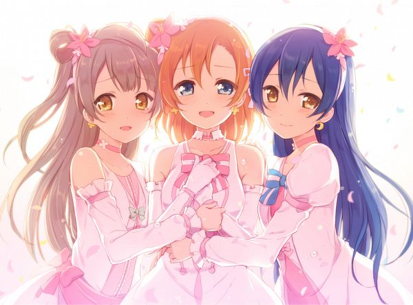 Tags: Anime, 6U☆, Love Live!, Sonoda Umi, Minami Kotori, Kousaka Honoka, Bokutachi wa Hitotsu no Hikari, Edited, Wallpaper