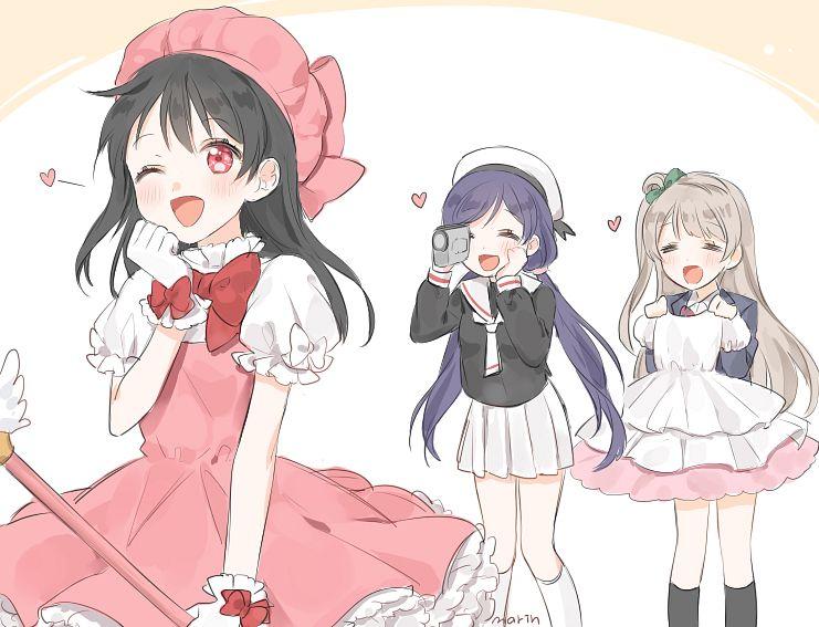 Tags: Anime, Pixiv Id 8571893, Love Live!, Toujou Nozomi, Minami Kotori, Yazawa Niko, Daidouji Tomoyo (Cosplay), = =, Kinomoto Sakura (Cosplay), Pixiv, Fanart, Fanart From Pixiv, PNG Conversion