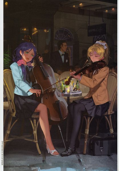 Tags: Anime, Alphonse, Love Live!, Kaleidoscope - side B, Toujou Nozomi, Ayase Eri, Playing Violin, Cello, Comic Market 87, Comic Market, Mobile Wallpaper, Scan