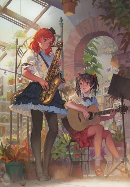 Tags: Anime, Alphonse, Love Live!, Kaleidoscope - side B, Yazawa Niko, Nishikino Maki, Music Stand, Saxophone, Scan, Comic Market 87, Comic Market, Mobile Wallpaper