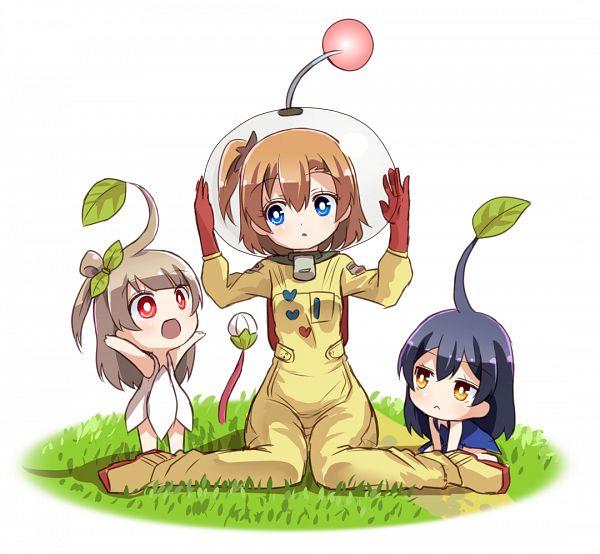 Tags: Anime, Sikei, Love Live!, Sonoda Umi, Minami Kotori, Kousaka Honoka, Pikmin (Cosplay), Olimar (Cosplay), PNG Conversion