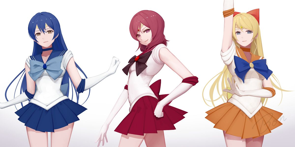 Tags: Anime, BON, Love Live!, Nishikino Maki, Sonoda Umi, Ayase Eri, Sailor Venus (Cosplay), Sailor Mercury (Cosplay), Sailor Mars (Cosplay), Soldier Game, PNG Conversion, Facebook Cover