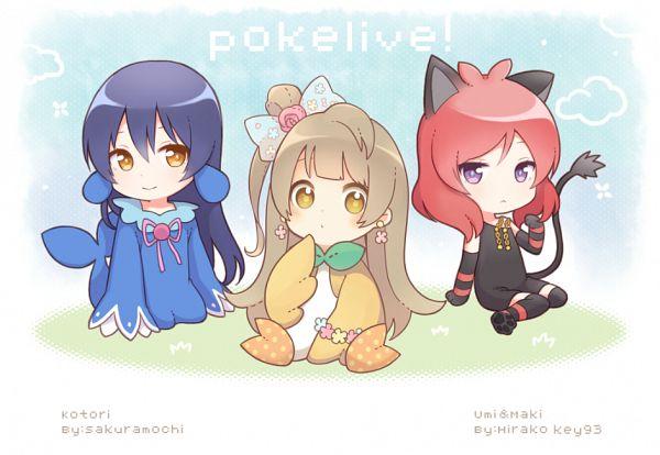 Tags: Anime, Komi (Hirara), Pixiv Id 4009952, Love Live!, Nishikino Maki, Sonoda Umi, Minami Kotori, Striped Handwear, Popplio (Cosplay), Pokémon (Cosplay), Rowlet (Cosplay), Striped Gloves, Litten (Cosplay)