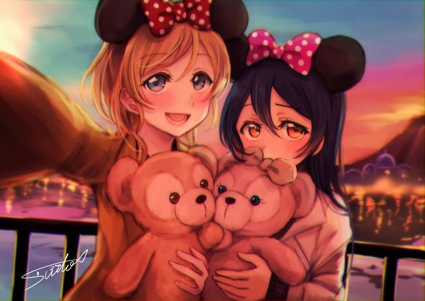 Tags: Anime, Pixiv Id 4910367, Love Live!, Sonoda Umi, Ayase Eri, Mickey Mouse (Cosplay), PNG Conversion