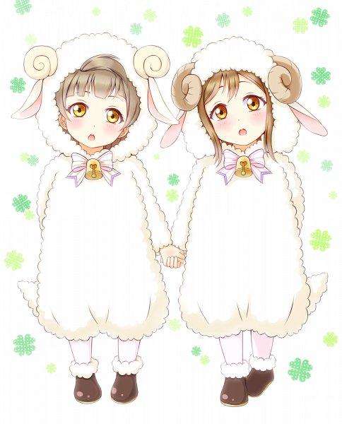 Tags: Anime, Pixiv Id 15320173, Love Live! Sunshine!!, Love Live!, Minami Kotori, Kunikida Hanamaru, Sheep Costume, Pixiv, Fanart, Fanart From Pixiv