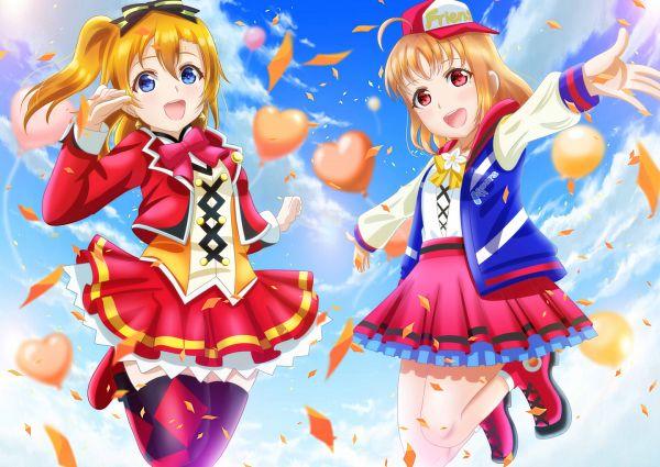 Tags: Anime, Pixiv Id 5765724, Love Live!, Love Live! Sunshine!!, Kousaka Honoka, Takami Chika, Fanart From Pixiv, Pixiv, Fanart
