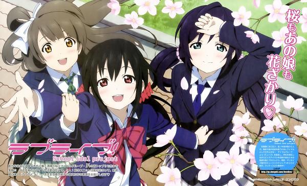 Tags: Anime, Murota Yuuhei, Love Live!, Toujou Nozomi, Minami Kotori, Yazawa Niko, Spring, Wallpaper, Official Art, Scan