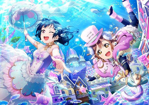 Tags: Anime, KLab, Love Live! Sunshine!!, Love Live! School Idol Festival, Kunikida Hanamaru, Tsushima Yoshiko, Whale, Official Art