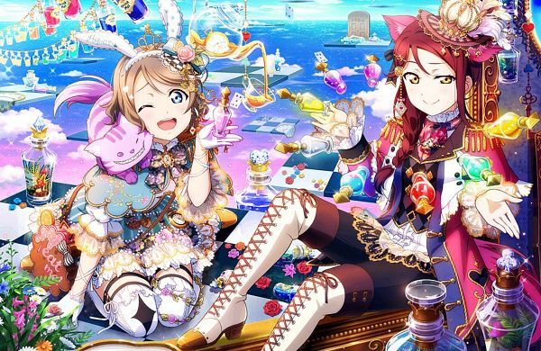 Tags: Anime, KLab, Love Live!, Love Live! Sunshine!!, Love Live! School Idol Festival, Koizumi Hanayo, Watanabe You, Sakurauchi Riko, Nishikino Maki, Watanabe You (Cosplay), Sakurauchi Riko (Cosplay), Edited, Official Art