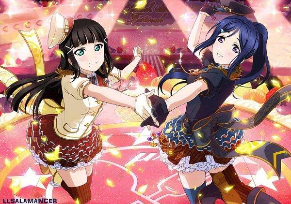 Tags: Anime, Love Live! Sunshine!!, Love Live! School Idol Festival, Kurosawa Dia, Matsuura Kanan, Ayase Eri (Cosplay), Love Live! (Cosplay), Sonoda Umi (Cosplay), Edited