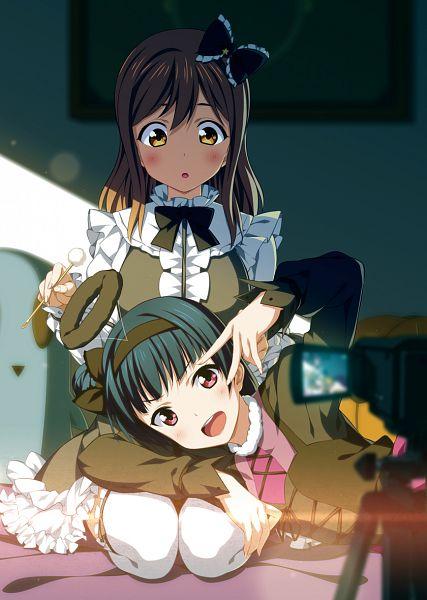 Tags: Anime, 2c=galore, Love Live! Sunshine!!, Kunikida Hanamaru, Tsushima Yoshiko, Video Camera, PNG Conversion, Mobile Wallpaper, YohaMaru