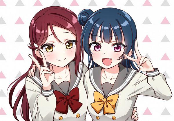 Tags: Anime, Pixiv Id 4077126, Love Live! Sunshine!!, Sakurauchi Riko, Tsushima Yoshiko, Side Bun