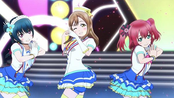 Tags: Anime, Love Live! Sunshine!!, Kunikida Hanamaru, Tsushima Yoshiko, Kurosawa Ruby, Aozora Jumping Heart, Screenshot