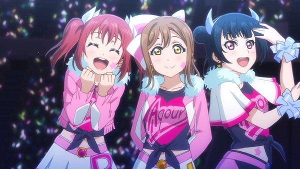 Tags: Anime, Love Live! Sunshine!!, Tsushima Yoshiko, Kurosawa Ruby, Kunikida Hanamaru, Miracle Wave, Screenshot