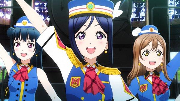 Tags: Anime, Love Live! Sunshine!!, Kunikida Hanamaru, Tsushima Yoshiko, Matsuura Kanan, Happy Party Train, Screenshot