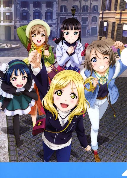 Tags: Anime, Sunrise (Studio), Love Live! Sunshine!!, Love Live! Sunshine!! The School Idol Movie: Over the Rainbow, Kunikida Hanamaru, Tsushima Yoshiko, Watanabe You, Kurosawa Dia, Ohara Mari, Official Art, Scan